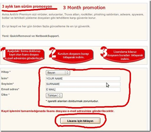 Avira Antivir 3 months promotion