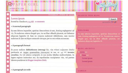 Pink Blogger Templates paper-girl