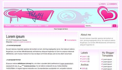 Pink Blogger Templates pinky84