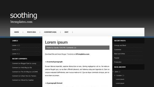 blogger 3 columns balck template Soothing