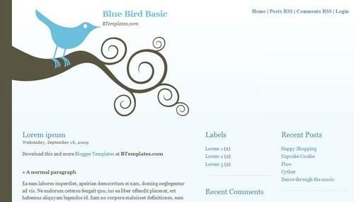 blogspot 3 Columns classic wordpress theme Bluebird-Basic