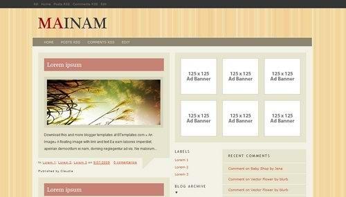 fresh 3 Columns blogspot xml template Mainam