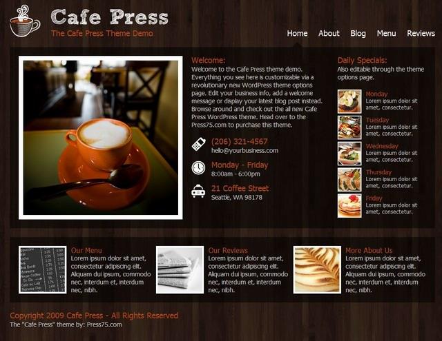 Cafe Press Theme for cafe shop