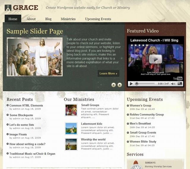 wordpress church theme grace