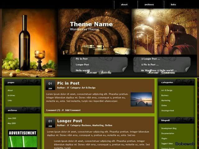 Free WordPress Theme for wine drinking websites