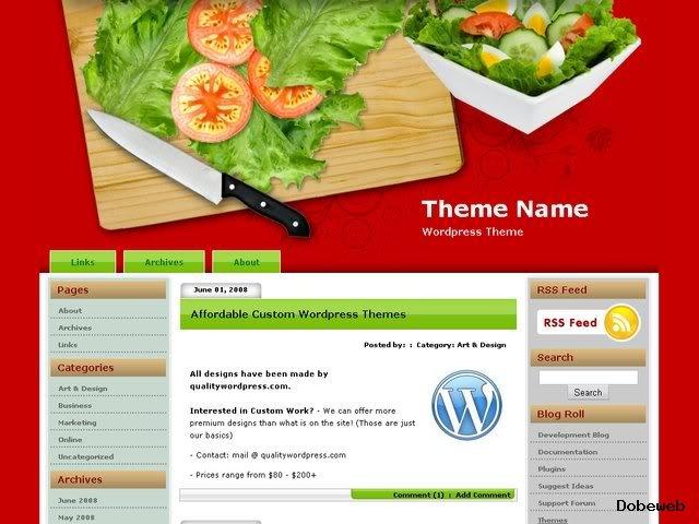 Free Food WordPress Theme - Cutting Board