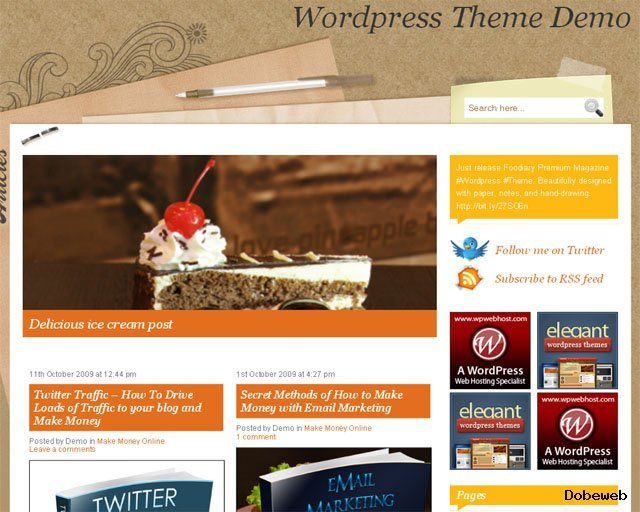 Free  Restaurants WordPress Theme