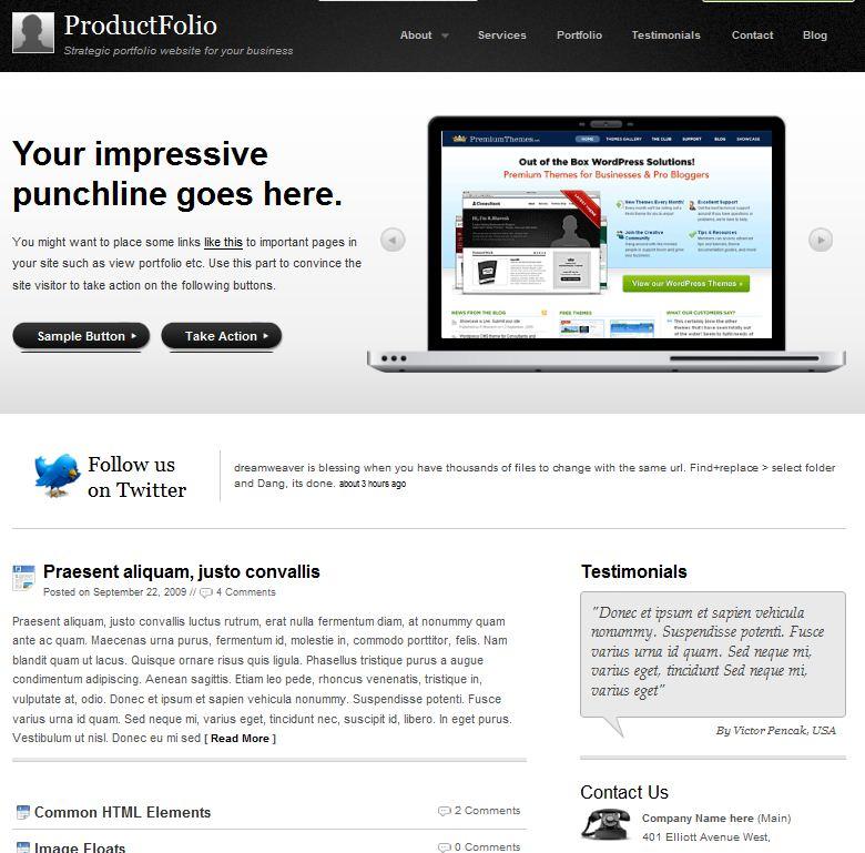cms wordpress Portfolio theme ProductFolio