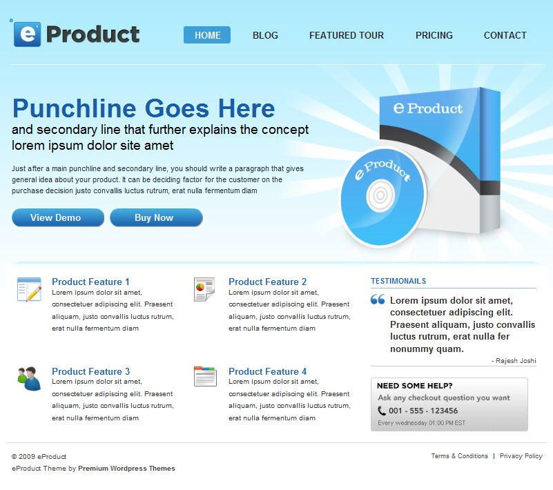 wordpress cms product sell theme eproduct