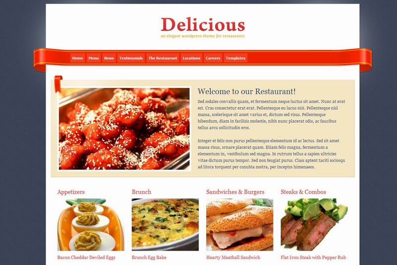 Restaurant wordpress food theme delicious