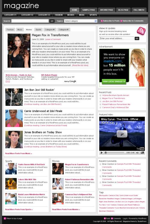 studiopress magazine wordpress theme