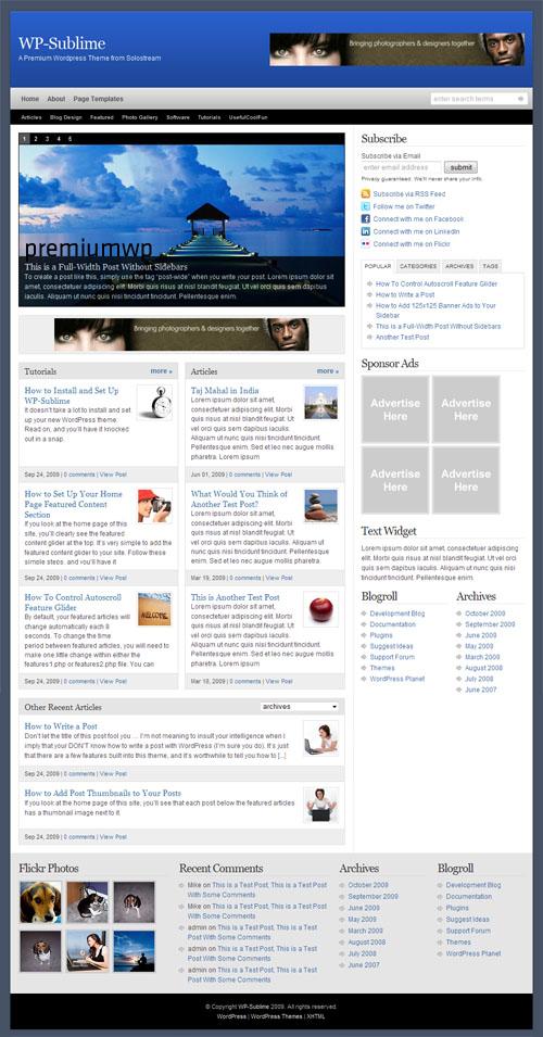 WP-Sublime Premium WordPress Theme