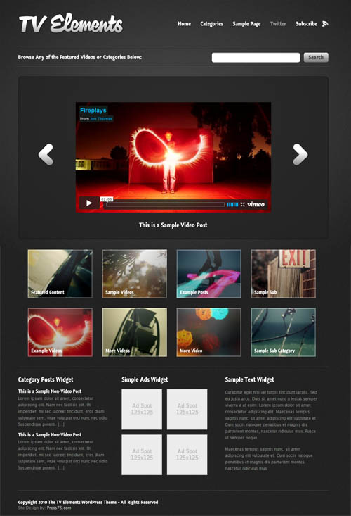 tv elements video wordpress theme