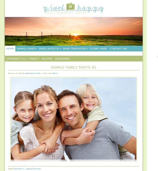 1 column simple clean wordpress theme for photographers