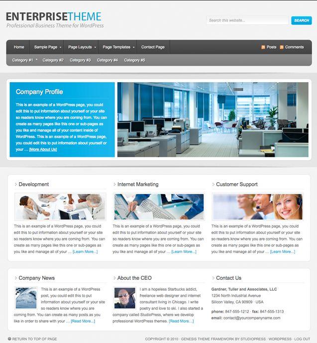 Enterprise wordpress theme studiopress