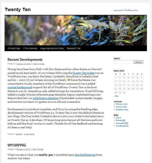wordpress 3.0 default theme