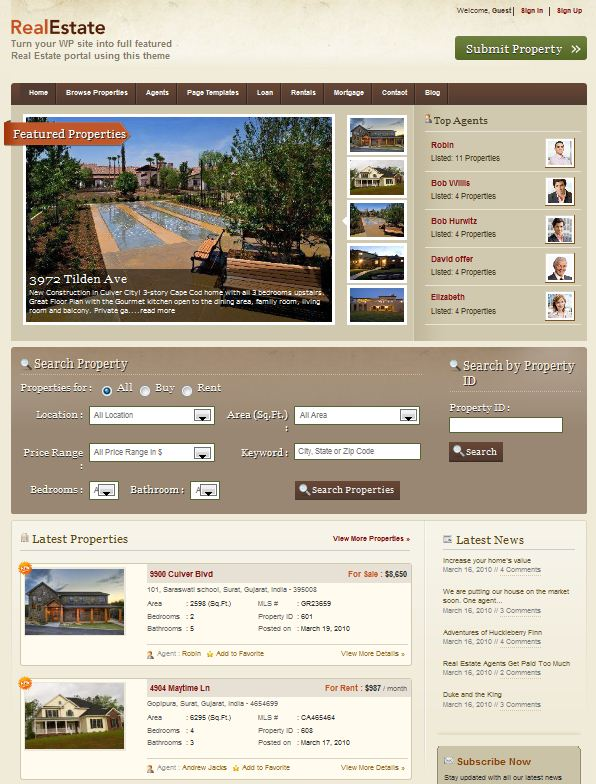 Templatic WordPress Theme for Real Estate Agent picture