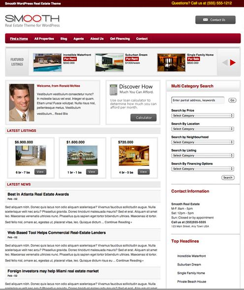 Functional Real Estate WordPress Template/Layout Smooth Theme  picture