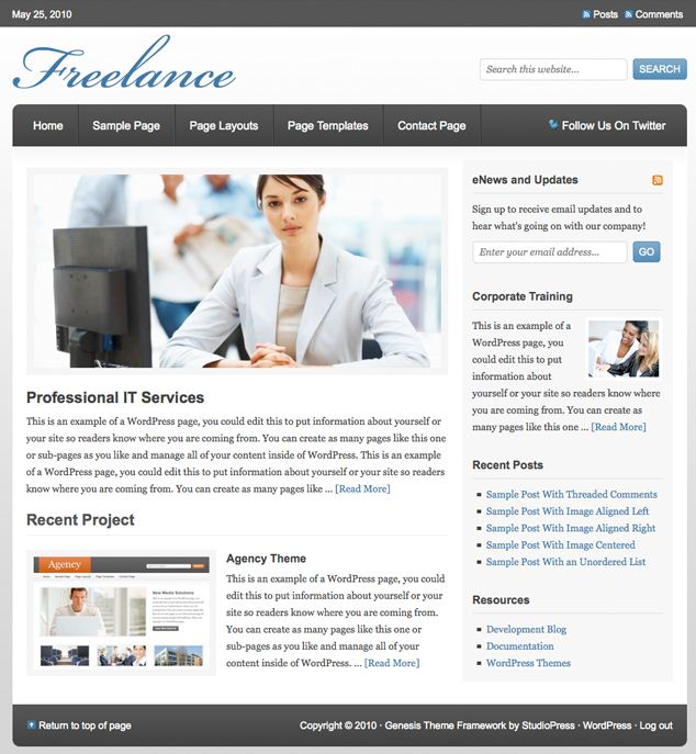 freelance wordpress cms theme picture