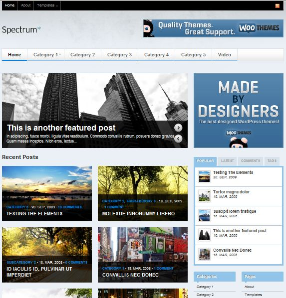 woothemes Spectrum magazine wordpress theme picture