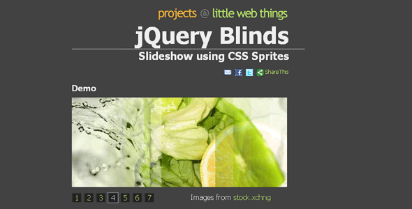 jQuery Blinds Slideshow using CSS Sprites