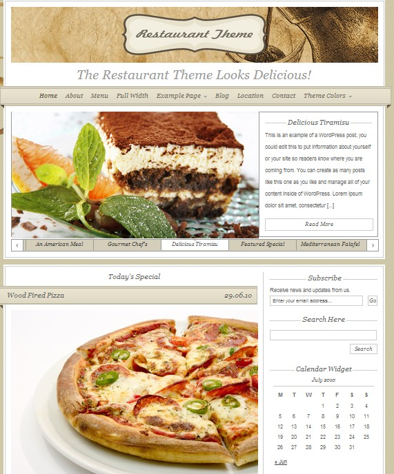 Restaurant wordpress theme picture