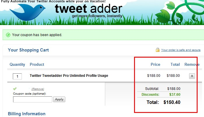 Tweet Adder Discount Coupon Code