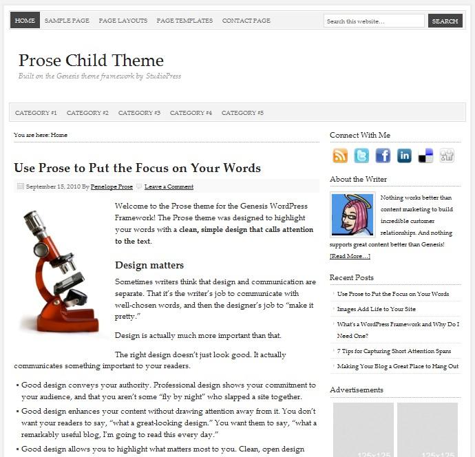 studiopress prose wordpress theme