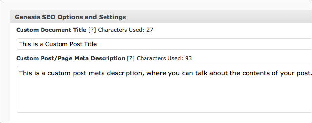 Genesis SEO Character Count