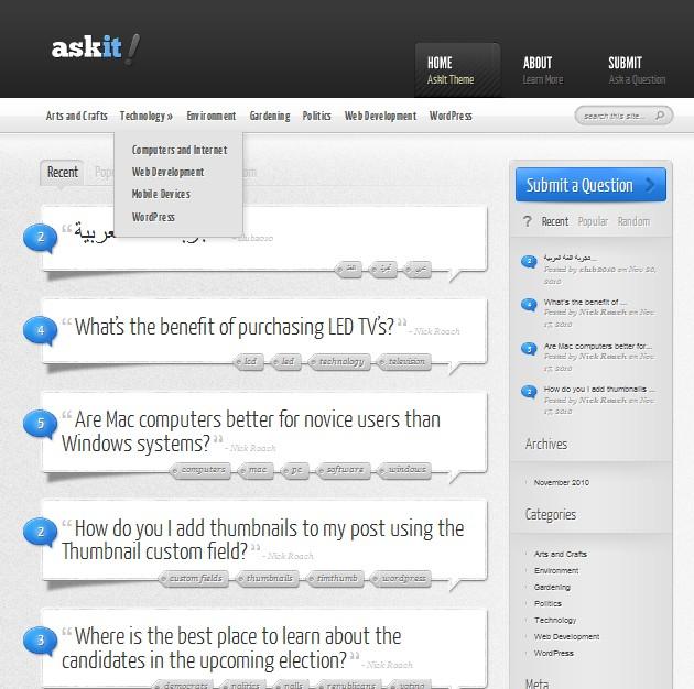 ask wordpress theme