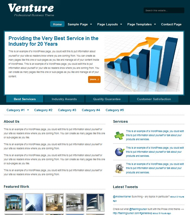 blue business wordpress themes