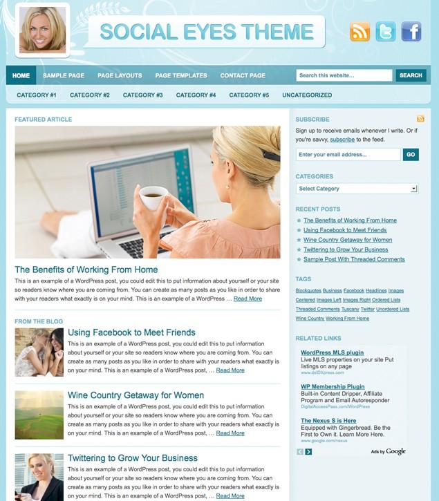 Studiopress Social Eyes WordPress Theme for Blog Sites