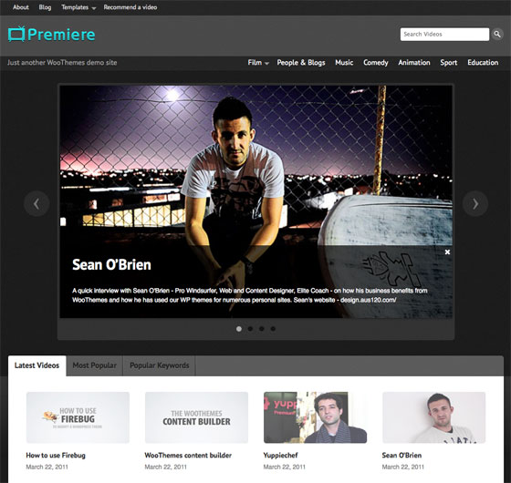 WordPress Video Theme from Woothemes: Premiere