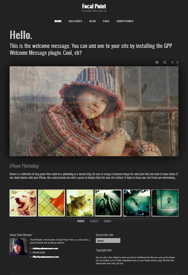 photography wordpress theme focal point