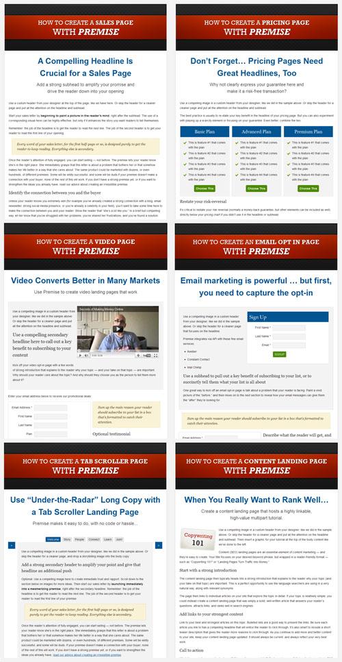 premise wordpress landing pages
