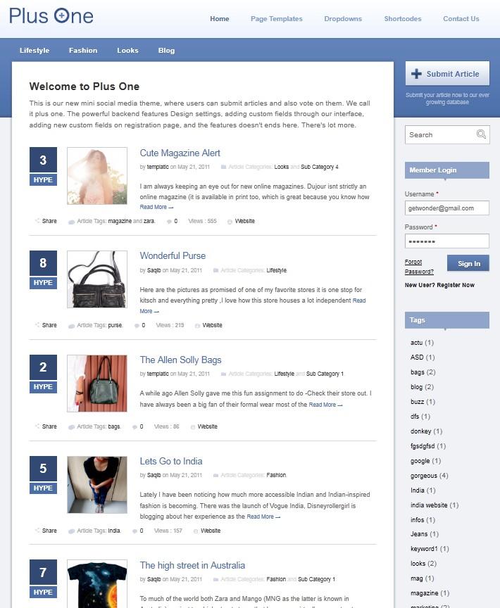 social media wordpress theme plus one
