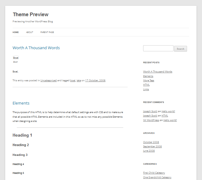 Free wordpress theme: twenty twelve theme