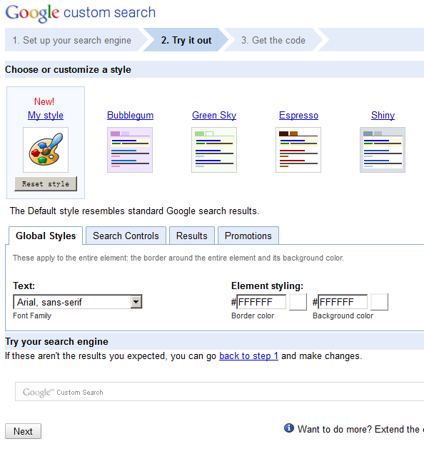Choose Google Search Style